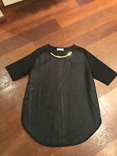 NWOT ZARA Black Croco Front Tee Shirt Knit Top Tunic sz L Crew Gold Bar Necklace