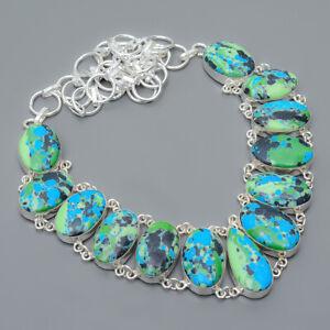 "Azurite Malachite 925 Sterling Silver Jewelry Handmade Necklace 17.99"" S263"