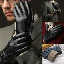 Leather Bike Gloves Winter Thermal Warm Full Finger Cycling Glove Touch Screen