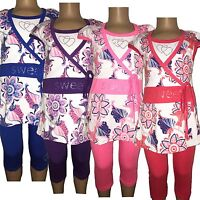 New Girls Tunic/Floral Dress/Top&Leggings 2 Piece Set /Summer Outfit 2-12ys #220