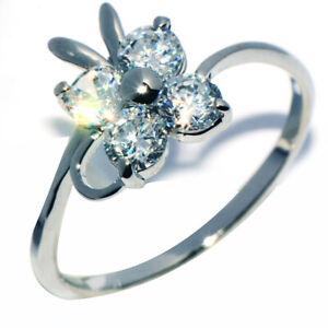 Lovely White Gold Filled Crystal Flower Ring for Womens Female Rings Size 6