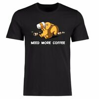Need Coffee Men T-shirts Funny Graphic Shirt Tee Short Sleeve Cotton Top Tees