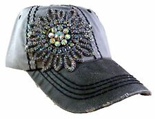 Olive and Pique Bling Ball Cap! Two Tone Cap w/Faux Leather & Rhinestone Flower!