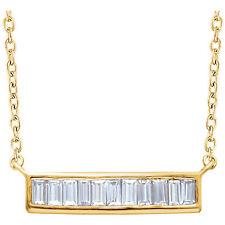 Diamante Baguette Barra 40,6 -45 , 7cm Collar en 14k ORO AMARILLO ( 1/4 Ct. TW