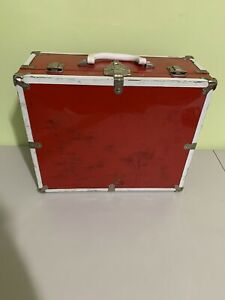 Vintage Roller Skate Carrying Case Box Vinyl, Metal  Box, Red And White
