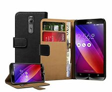 Wallet BLACK Leather Flip Case Cover Pouch Saver For Asus Zenfone 2 (ZE551ML)