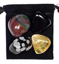 BLOOD CIRCULATION Tumbled Crystal Healing Set  = 4 Stones + Pouch + Description