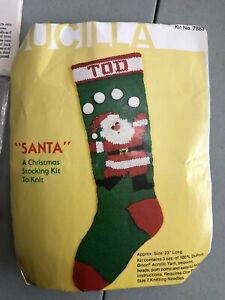 "Vintage Bucilla 7883 SANTA Stocking Knit Craft 23"" DuPont Yarn Open Pkg"