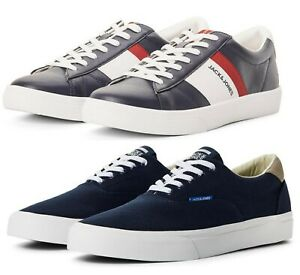 Men Jack & Jones Leather & Canvas Shoes Summer Sneakers Sports Trainers 7-12