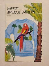 New listing Vtg Unuse Clotilde Parrot Applique Pattern