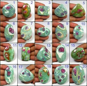 NATURAL RED GREEN RUBY FUCHSITE CABOCHON MIX SHAPE GEMSTONE JEWELRY USE RF-A