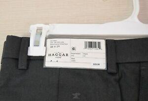 Haggar Mens H26 No Iron Stretch Machine Wash Dark Gray Pants Size 40 x 29
