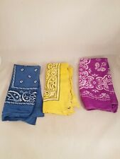 Bundle/Lot Of 3 Bandana Scarf Headband Blue Purple Yellow w/ Paisley Print