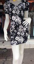 H&M Black Floral Pattern Open Back  Clubwear/Casual Bodycon Mini Dress S 12-14