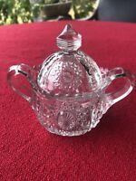 "Vintage Clear Pressed Glass 2-handled Diamond Sugar Bowl  W/ scalloped rim. 5x4"""