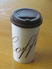 Kaffeebecher Coffee to go Porzellan Weiß - Braun mit Aufdruck Coffee in Braun