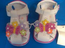 NWT TODDLER GIRLS STRAPPY SANDALS WHITE WITH BRIGHT FLOWERS & BUTTERFLY SZ 4