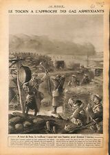 Poilus tranchées tocsin masque à gaz/Hygiène soldats bains 1915 WWI ILLUSTRATION