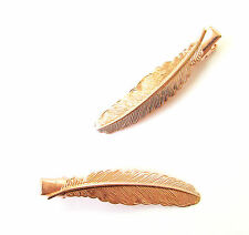2 x Rose Gold Feather Leaf Hair Clips Grips Baroque Bridal Grecian Boho Vtg 1186