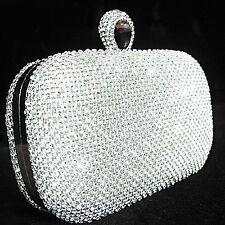 Dazzling Silver Crystal Rhinestone Ring Wedding Bridal Evening Party Clutch