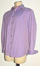 Robert Graham Men's Shirt Purple LONG Sleeve Button Down Contrast Cuffs size XL
