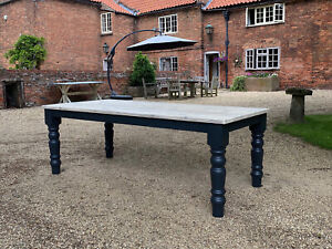 Farmhouse Base Off-Black with Light Patina Finished Top