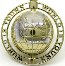 9 Grams Mens 10k Yellow Real Gold Spinning Globe World is Yours Charm Pendant