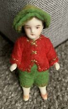"""Antique Boy Elf Doll Germany Jointed Bisque Limbach C. 1900 Dressed 3"""" NICE NR"""