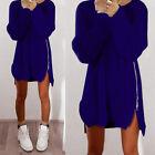 Femme manches longues Jumper Hauts Chandail Tricot Tunique Pull Mini Robes 34-44