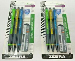 Lot of 2 Zebra Z-Grip Plus Mechanical Pencil 0.7mm Yellow. Green. Blue. 6 TOTAL