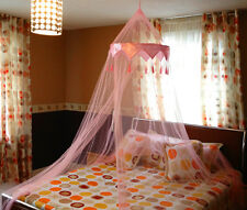 Pink Satin Crown Romantic Mosquito Net Bed Single Double King Midge Fly Canopy