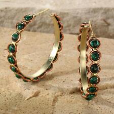 New Tara Mesa Malachite Beaded Hoop Earrings