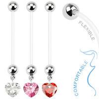 14g (1.6mm) Bioflex Pregnancy Belly Bar / Navel Ring With Dangle CZ Heart