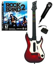 NEW PS3 Wireless Guitar Hero 5 Guitar, Rock Band 2 Game & Microphone Bundle Kit