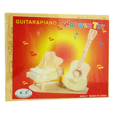 3D Wood Construction Puzzle Small - Guitar & Piano