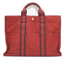 Authentic HERMES Fourre Tout MM Hand Tote Bag Canvas Red