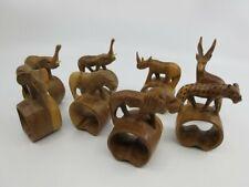 Tallado a Mano Madera Safari Animales Conjunto de 8 Servilleta Anillos