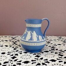 Wedgwood Blue/White Relief Jasperware Pitcher/Jug Matte Neoclassical Figures