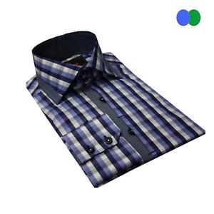 Check Pattern High Collar Formal Men's Slim Fit Shirt Size M-3XL