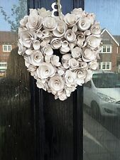 Rústico Floral Crema Rosa Corazón Puerta Pared Arte Corona Colgante Decoración del hogar