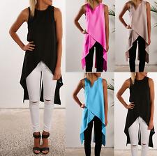 Womens Sleeveless Asymmetric Vest Chiffon Shirt Ladies Casual Tunic Blouse Tops
