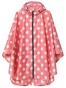 Summer Mae Rain Poncho Jacket Coat for Adults Hooded Waterproof with Zipper Pink