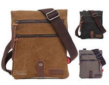 Men's Canvas Leather Travel Military Messenger Fanny Sling Shoulder Bag Small