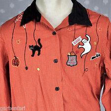 Halloween Cat Bat Ghost Boo! Womens Plus Size Button Front Shirt 18w 20w Cute