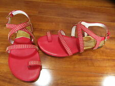 NEW MICHAEL KORS ARIANNA TOE RING SANDALS SHOES SZ 6.5 Rhubarb Red w Studs $165.