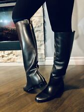 New  Lanvin Women's Black Flat Back-Zip Knee Boots 6.5 US 37 EU