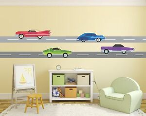 Childrens Retro Cars Road Red Cabrio Purple Green Blue Car Wall Stickers Decal 8
