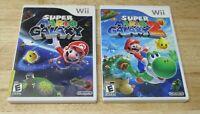 SUPER MARIO GALAXY 1 & 2 Game Lot Nintendo Wii Both Complete