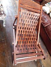Deck Chair Garden Seat Hand Made Solid Wood Carved Patio Folding Adjustable