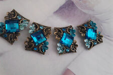 4 Teal Blue Rhinestones Metal Beads with Flower and Leaves Motif, Connectors.